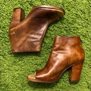 Bed Stu Rustic Leather Open Toe Booties